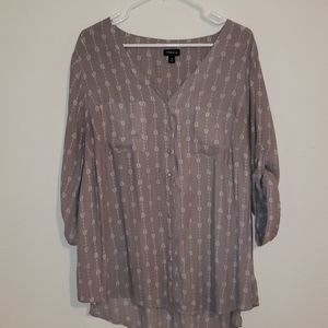 Gray button up blouse with design